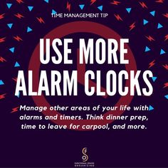 #TimeManagement #Tip: An #alarm #clock is a simple, yet effective time management tool that most of us already have.  Although we often associate alarm clocks with getting up in the morning, they can actually be used to help manage other areas of our life, too. Consider setting your alarm clock 5 minutes before you must walk out the door, set it to start dinner preparation, set it to pick up gymnastics carpool, or more. Even low-tech gadgets can help us manage time. #orgnzrheather