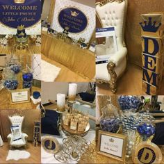 navy blue and gold royal baby shower