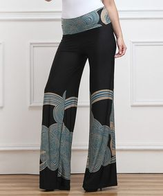 Another great find on #zulily! Black & Blue Cloud Floral High-Waist Palazzo Pants - Plus #zulilyfinds