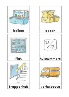 Woordkaarten Bas 'De verhuizing' 1 Learn Dutch, Dutch Netherlands, Hospital Health, I Love School, Dutch Language, Exercise For Kids, Primary School, Paper Dolls, More Fun