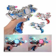 Children Flashing Lights Up Space Pistol Gun Toy with Firing Sound Music
