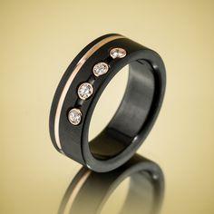 Black Zirconium Rose Gold Diamond Ring by Spexton.