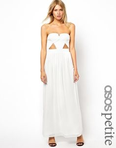 Image 1 ofASOS PETITE Exclusive Maxi Dress With Textured Bodice And Cut Outs