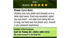 Hostess was very polite and showed us to a table right away.  Food was excellent, salad...