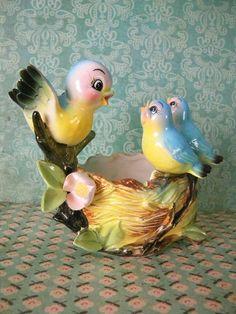 Vintage Bluebird's Nest Planter by SongbirdSalvation on Etsy