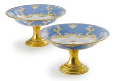 A Pair of Russian Porcelain Tazzas from the Farm Palace Banquet Service, Imperial Porcelain Manufactory, St. Petersburg, Period of Nicholas I (1825-1855) - Sotheby's 10,600