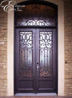 Custom wrought iron door with attached eyebrow arch transom. Entry Doors, Front Doors, Window Bars, Wrought Iron Doors, Big Houses, Spanish Style, Door Ideas, Double Doors, Eyebrow