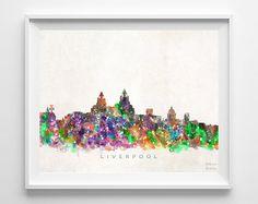 Liverpool Skyline Print England Print Liverpool by InkistPrints