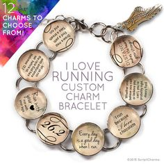 I Love Running - Custom Glass Charm Bracelet with Silver Running Shoe Charm by ScriptCharms  If she loves to run—whether it be 5Ks, half-marathons, or full marathons—she'll LOVE this beautiful, glass charm bracelet! Choose 8 charms from our 12 ready-made charms, to create your one-of-a-kind beautiful silver plated metal and glass charm bracelet.