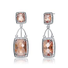 Collette Z Sterling Silver Clear & Copper Cubic Zirconia Rectangle Earrings