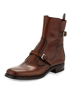 Leather Double-Buckle Short Boot, Brown by Prada at Bergdorf Goodman.