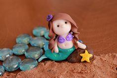 Polymer Clay Mermaid  Clay Mermaid  Terrarium by GnomeWoods