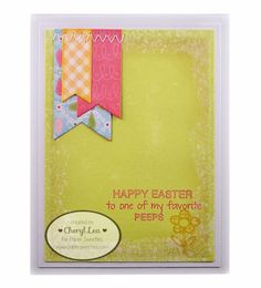 Easter card from Ink Up: Paper Sweeties ... luv rhe triple fishtail flag element with wide machine stitched zig zag to hold it on ...