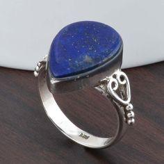 925 STERLING SILVER AMAZING LAPIS RING 4.32g DJR5266 #Handmade #Ring