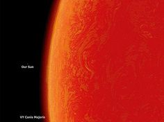 Our sun in comparison to the largest sun know to man, VY Canis Majoris. How great is our God!