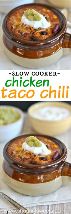 Slow Cooker Chicken Taco Chili: best comfort food and it's made in the crockpot! Slow Cooker Chicken Tacos, Crock Pot Slow Cooker, Slow Cooker Recipes, Chicken Taco Chili, Crock Pot Soup, Chicken Steak, Cooking Recipes, Slow Cooking, Crockpot Dishes