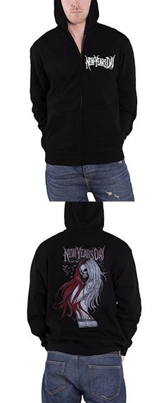 New Years Day Long Hair Skull logo Official Mens New Black Zipped Hoodie