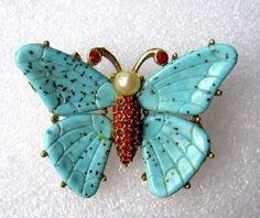 Vintage CINER Turquoise Glass & Rhinestone Butterfly Brooch / Pin   eBay