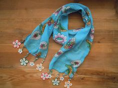 long scarf with crochet flowers   cotton