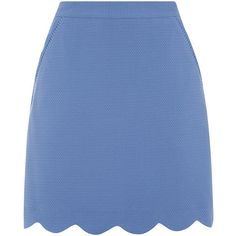 SCALLOP POCKET SKIRT ($51) ❤ liked on Polyvore featuring skirts, summer skirts, pocket skirt, blue skirt, scallop edge skirt and holiday skirts