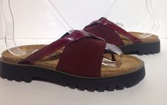 Naot Burgundy Strappy Leather Sandals Israel size 36 #NaotFootwear #Slides #Casual