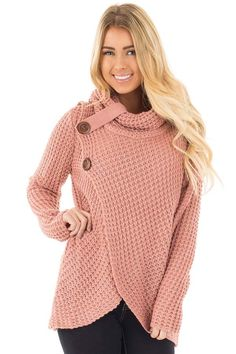 a6e41713a Lime Lush Boutique - Deep Blush Knit Sweater with Cowl Neck and Button  Detail