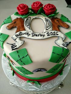 Pink Pineapple Bakery. Kentucky Derby theme fondant cake