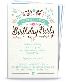 Free Printable Girl Birthday Invitation Templates