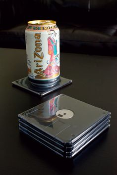 Floppy Disk Coasters - Black with Black Metal Set of 6 - Make your apartment geek chic.