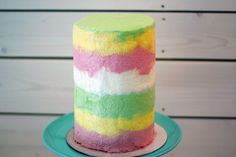 multicolor rainbow frosting buttercream tall cake