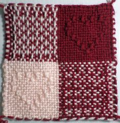 Four-Patch Hearts with Pattern Stitch — 6″ (47 x 47) pattern – Adventures in Pin Loom Weaving