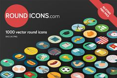 60 Unique free flat round icons in SVG, Ai and PNG