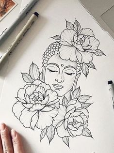 Zeichnungen yup throw color in it a lotus flower buddha my back piece q Buddha Drawing, Doodle Art Drawing, Buddha Art, Cool Art Drawings, Pencil Art Drawings, Tattoo Drawings, Buddha Painting, Tattoo Sketches, Buddha Tattoo Design