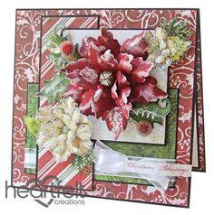 Snowy Red Poinsettia Christmas card from #HeartfeltCreations
