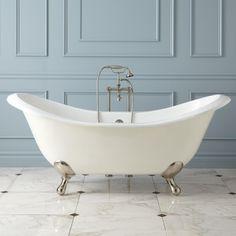 "71"" Aubretia Cast Iron Double Slipper Tub - Bathroom"