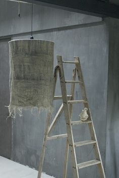 linen lamp  Could use hanging lamp from World Market to do this...