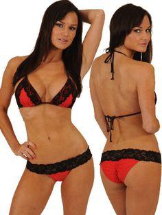 6bf00f7ecd Cherry Lace Triangle Bikini Tops and wide range of Unique Bikini  Mix-n-Match Tops at ElectriqueBoutique.com