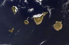 españa y canarias vistas desde el espacio   Vista desde el espacio donde se aprecian las manchas al sur de El ...