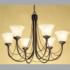 Elegant 6 arm chandelier in a black finish with distinctive hand-bound wire drapes.   Handmade in England to the highest quality.