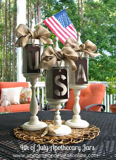 """of July Apothecary Jars. Fill old Apothecary Jars on stands, with Beach Sand or Shells, adorn with stenciled/cutout """"USA"""", then top off with a whimsical burlap bow. Patriotic Crafts, July Crafts, Holiday Crafts, Holiday Fun, Holiday Ideas, Americana Crafts, Patriotic Party, Holiday Style, Favorite Holiday"""