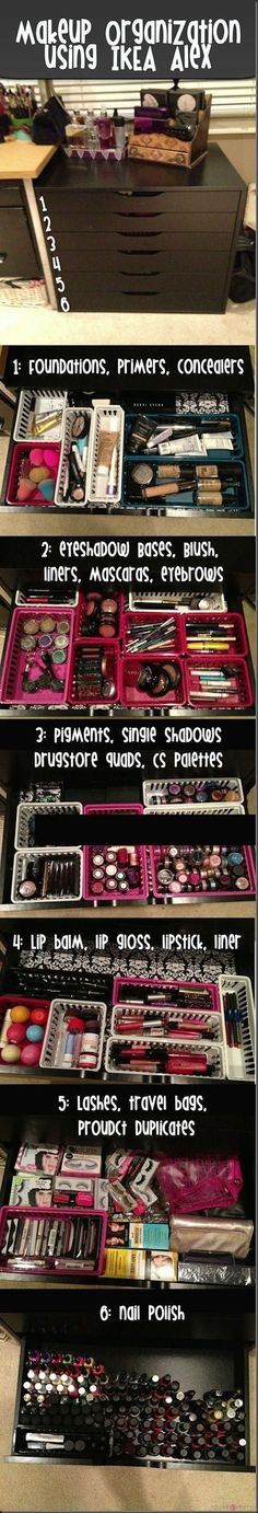 IKEA ALEX makeup storage organization…holy crap thats a lot of make up, i could probably fill that up lol Makeup Storage Organization, Diy Organisation, Storage Ideas, Storage Organizers, Organizing Ideas, Bedroom Organization, Drawer Ideas, Organization Station, Storage Solutions