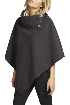 Free Shipping Worldwide for Womens Stylish Plain Turtleneck Button Design Loose Poncho Dark Gray, on sale now at our lowest price ever! Shop PinkQueen.com, the sexy way to save.