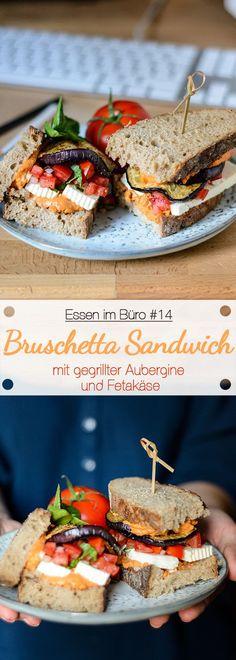 Essen im Büro #14 - Bruschetta Sandwich mit gegrillter Aubergine und Fetakäse