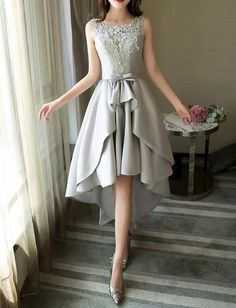 Grey Satin and Lace High Low Party Dress, Round Neckline Charming Formal Dress, Prom Dress 2019 # trendy dresses formal teen clothing Grey Satin and Lace High Low Party Dress, Round Neckline Charming Formal Dress, Prom Dress 2019 Grey Party Dresses, Party Dress Outfits, Dress Prom, Dress Formal, Teen Formal Dresses, Grey Short Dresses, Formal Gowns, Short Evening Dresses, High Low Dresses
