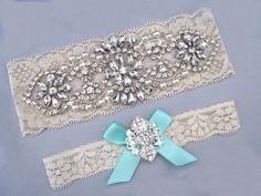 Ivory / Off White Bridal Garter Set, Aqua Something Blue Wedding Garter, Stretch Lace Crystal Rhinestone Pearl Keepsake / Toss Garters