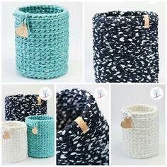 Home living basket crochet zpagetti - by de-haakfabrieknl