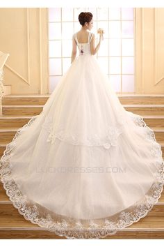 Ball Gown Beaded Bowknot Lace Bridal Wedding Dresses WD010507
