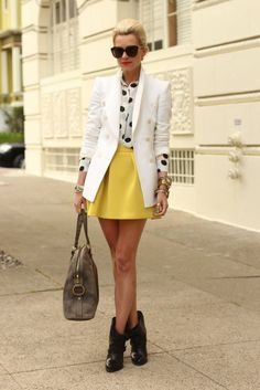 white blazer, yellow skirt, and polka dot top paired perfectly @ atlantic pacific blog