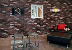Faux Brick Wall Skins – Simple Walls Faux Brick Wall Panels, Brick Wall Paneling, Garage Pictures, Outdoor Furniture Sets, Outdoor Decor, Exposed Brick, Interior Walls, Simple, Facebook