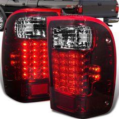 93 99 Ford Ranger Pickup Smoke Red Lens Full Led Tail Lights Brake Signal Lamps